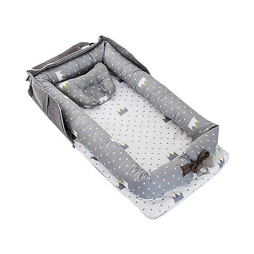 Womdee Capazo de Bebé y Nido de Bebé con Almohadas, Reductor Cuna Bebe, Nido Bebé Recién Nacido - Cuna de Algodón 100% Suave (0-24 Meses) - Cuna ...