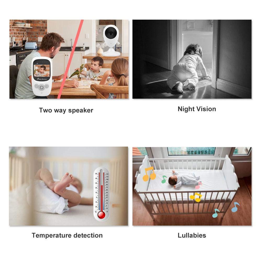 Canci/ón de Cuna Baby Monitor Audio y Video Smart Lcd Baby Monitor C/ámara con Visi/ón Nocturna EU Monitoreo de Temperatura
