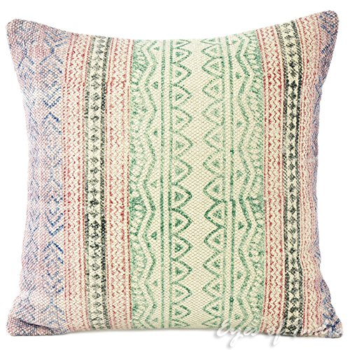 "Eyes of India - 16"" Green Dhurrie Striped Decorative Pillow"