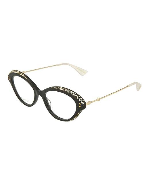 f16e639c915f Amazon.com  Gucci GG 0215O 001 Black Plastic Cat-Eye Eyeglasses 51mm   Clothing