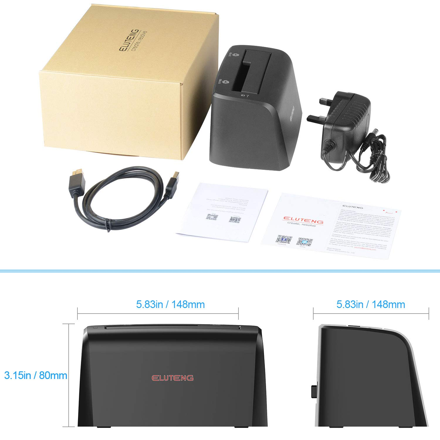 ELUTENG USB3.0 Hard Drive Docking Station for SATA3 2.5 and 3.5 inch SSD or HDD 5Gbps UASP Super Speed Max Support 8TB Hard Disk Drive Dock Plug and Play by ELUTENG (Image #8)