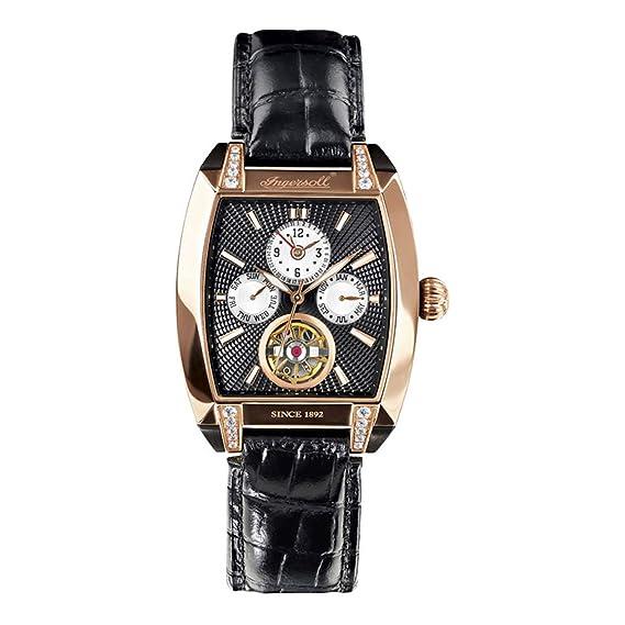 Ingersoll IN8205RBK - Reloj analógico automático para mujer con correa de piel, color negro: Amazon.es: Relojes