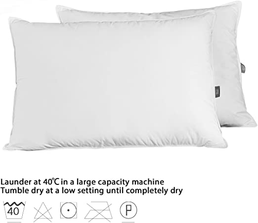 King Size PEACE NEST-Soft White Down and Down Fiber Pillows Cloud-Like Down Pillows for Sleeping,Side Sleeper,100/% Cotton Fabric White 2 Pack
