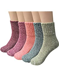 5 Pairs Womens Knit Warm Casual Wool Crew Winter Socks...