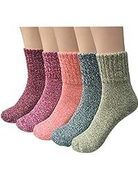 5 Pairs Womens Warm Knit Casual Wool Crew Winter Socks...