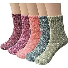 5 Pairs Womens Knit Warm Casual Wool Crew Winter Socks (fits shoe size 5-8)