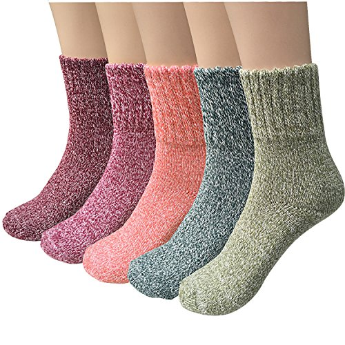 Pack of 5 Womens Thick Knit Warm Casual Wool Crew Winter Socks, Mixed Colors 1- 5 Pack,one size(fits shoe size 5-10)