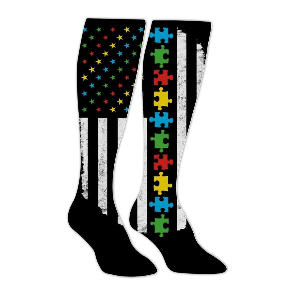 BMN&GAO Autism Awareness American Flag Long Stockings Knee High Family Socks