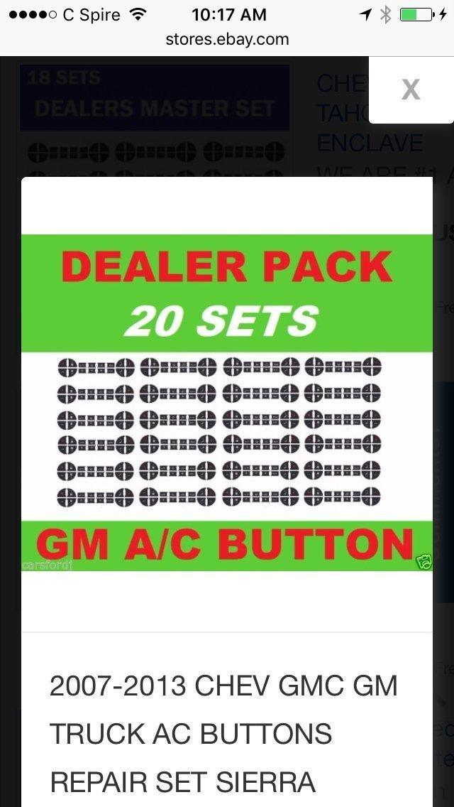 2007-2013 Chevy, GMC, GM Truck A/C Buttons Repair Set (20 Quantity) Decal Man