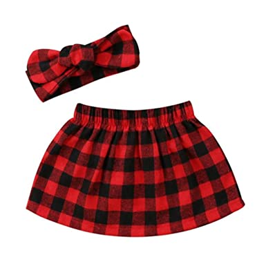 1f7116d107 AIKSSOO Infant Toddler Newborn Baby Girls Plaid Skirt with Bowtie Headband  Size 70 (Red)