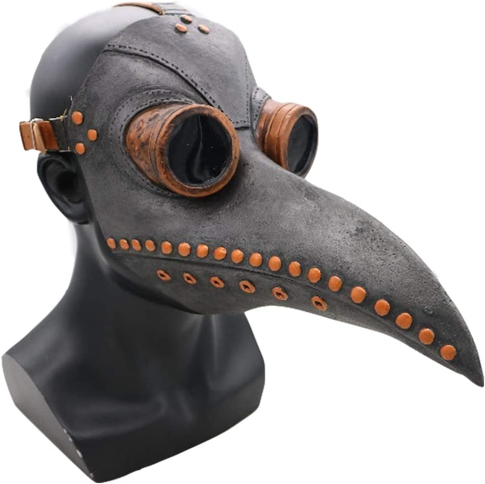 Wellin Party Halloween Scary Latex Mask , Latex Masquerade Prop (Plague Doctor Black)