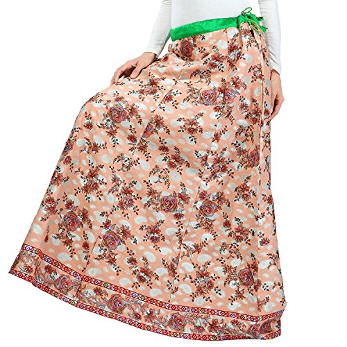 Indian Handicrfats Export Admyrin Women Peach Cambric Cotton Skirt