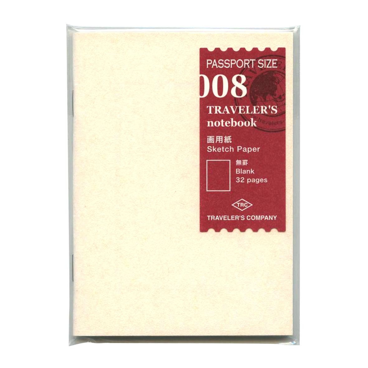 Midori Traveler's Notebook - Refill 008 (Passport Size) - Sketch Paper Notebook Designphil