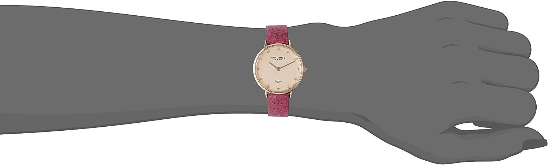 Akribos XXIV Women's Skinny Watch - 12 Genuine Diamond Markers on Genuine Leather Strap - AK882 Pink