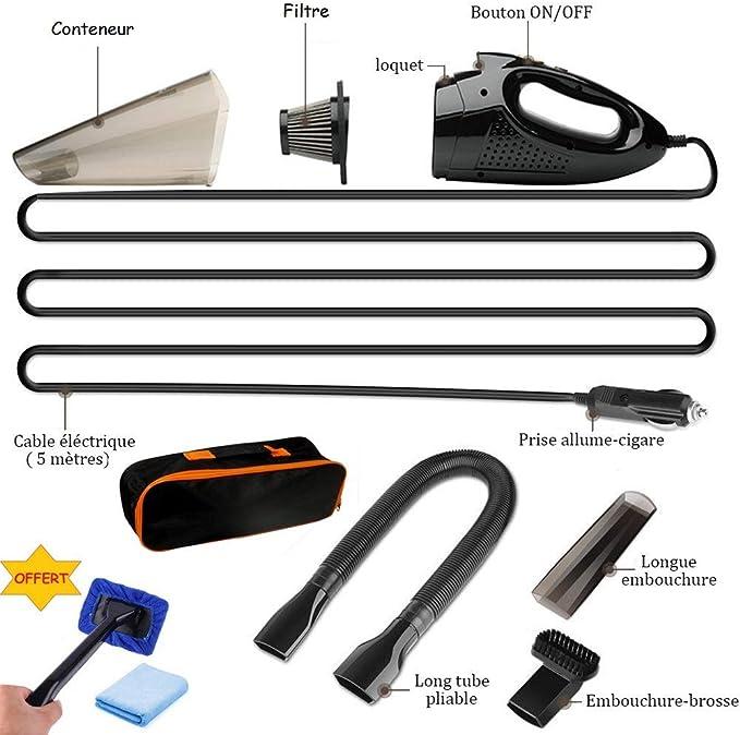 Aspirateur Voiture Sans Sac,Top Accessoire à Main Puissant Branchement Allume Cigare Pour Nettoyage Complet De Votre Auto Mini Accessoires