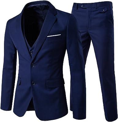 Traje de 3 piezas con chaqueta, chaleco y pantalones, hombre, de ...