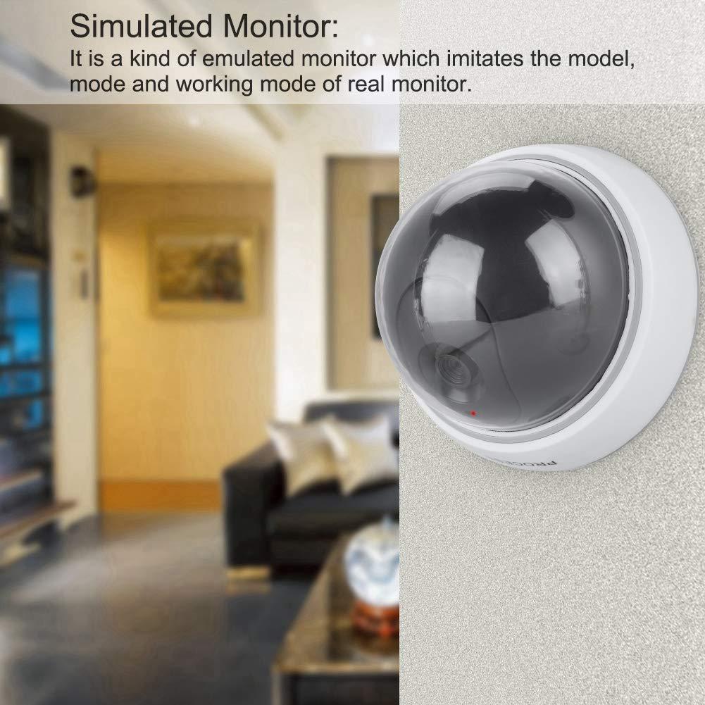 para hogares y negocios Uso interior y exterior C/ámara de vigilancia formada c/úpula falsa con simulado IR luces intermitentes C/ámara de seguridad simulada