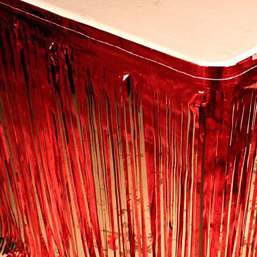 Red Metallic Fringe Table