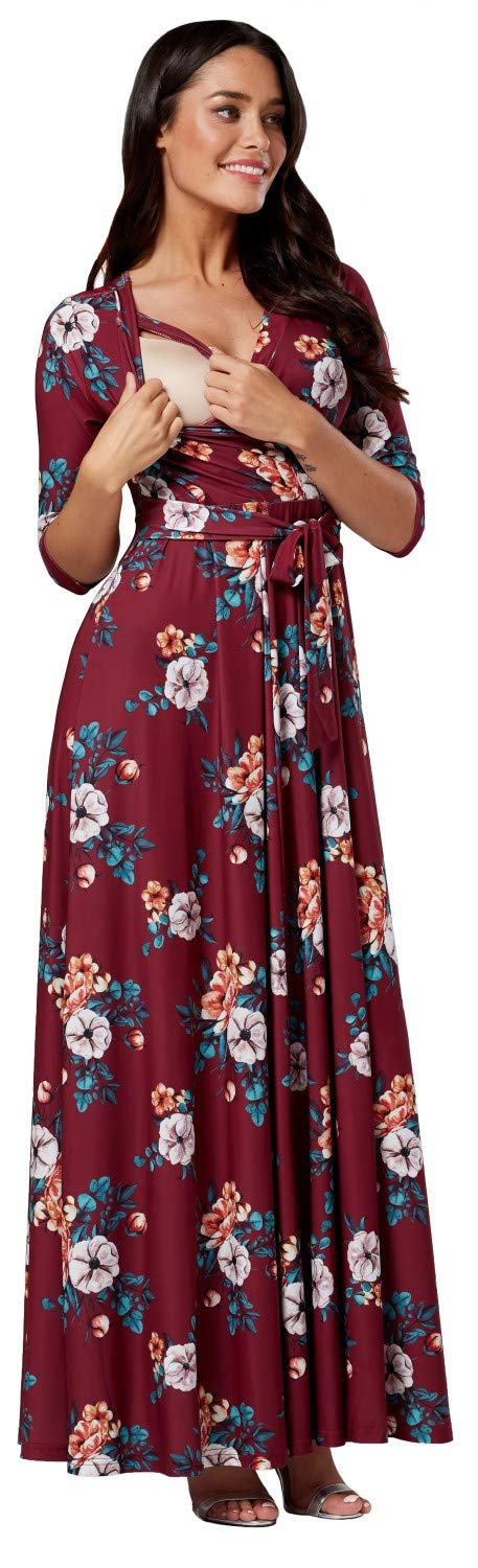 HAPPY MAMA. Women's Maternity Nursing Maxi Dress 3/4 Sleeves Double Layered 608p pregdress_608