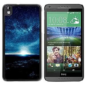 QCASE / HTC DESIRE 816 / atmósfera azul planeta cielo nocturno estrellas sol / Delgado Negro Plástico caso cubierta Shell Armor Funda Case Cover