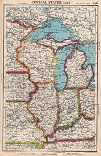 Michigan And Indiana Map.Amazon Com Midwest Usa Wi Michigan Illinois Indiana Great Lakes