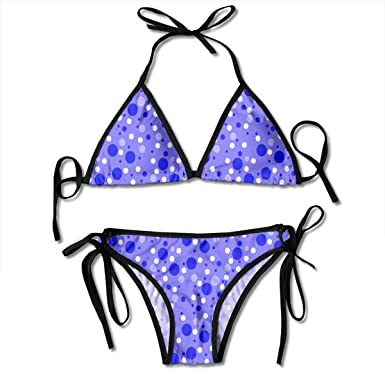 e6458362fd05 Amazon.com: Blue and White Dots Swimsuits Bikinis Thong Swimsuit for Beach  Beach Swimming: Clothing