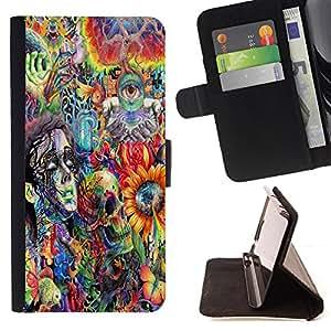 King Art - Premium-PU-Leder-Prima caja de la PU billetera de cuero con ranuras para tarjetas, efectivo Compartimiento desmontable y correa para la mu?eca FOR Apple iPhone 6 6S 4.7 - Dead skull woman