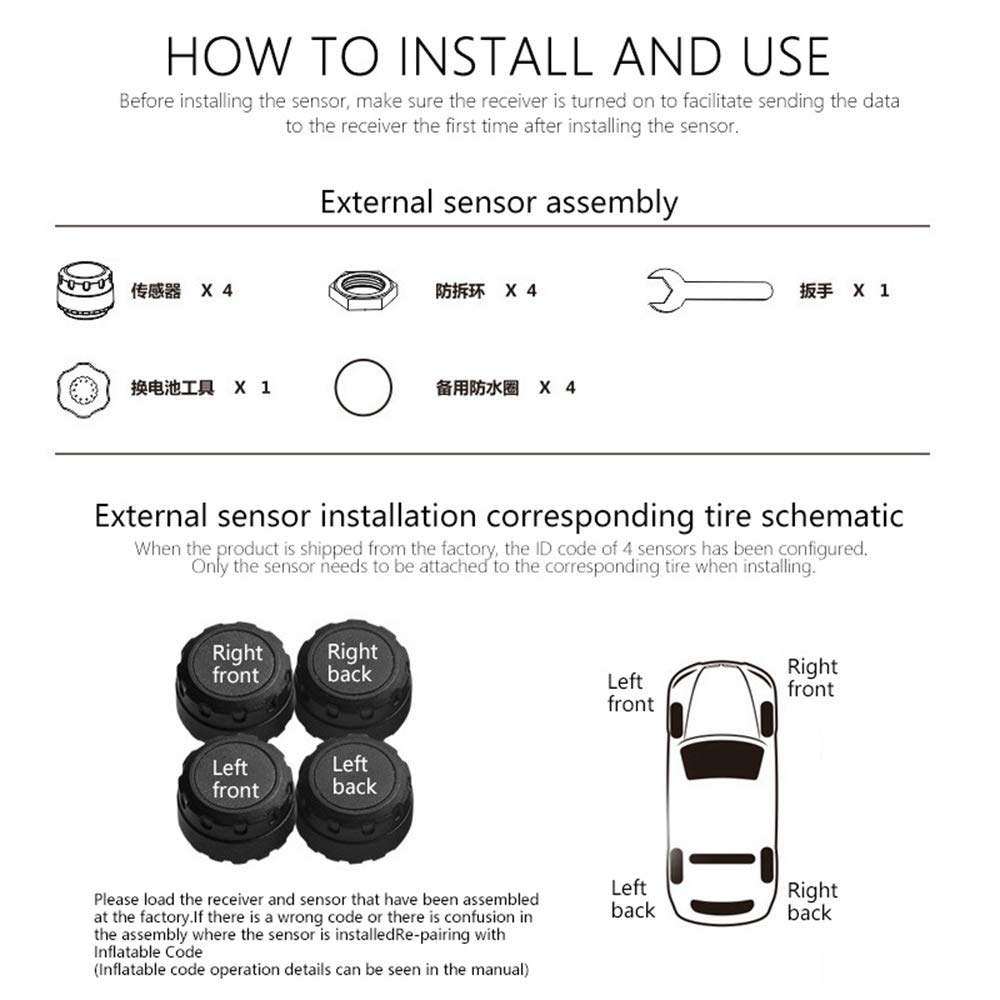 Wireless Solar Energy TPMS Tyre Pressure Monitoring System with LCD Display /& 4 Sensors UMIWE Car Tyre Pressure Gauge Digital Tyre Pressure Gauge with Real-time Detection Pressure /& Temperature