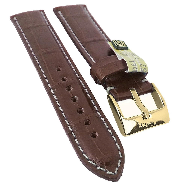 Alligator Highline Ersatzband Uhrenarmband 18mm - 22mm | Alligator-Leder mahagonibraun - seidenglÄnzend 30397 - Stegbreite