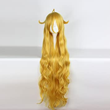 springcos Fairy Tail Wig Cosplay Mavis Vermilion Golden Long Wigs