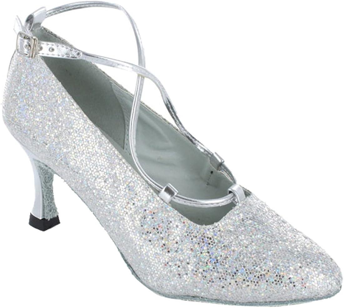 TDA Womens Ankle Strap Flared Heel Colsed Toe Glitter Synthetic Salsa Tango Ballroom Latin Modern Dance Wedding Shoes