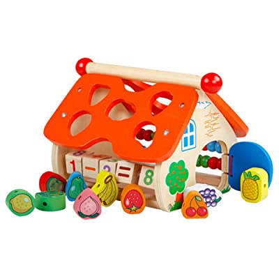 ZLWPH Building Blocks Wooden House Building Educational Toys, Wooden Houses Fruit Skewers Wooden Houses, Early Childhood Educational Toys for Boys and Girl: Home & Kitchen