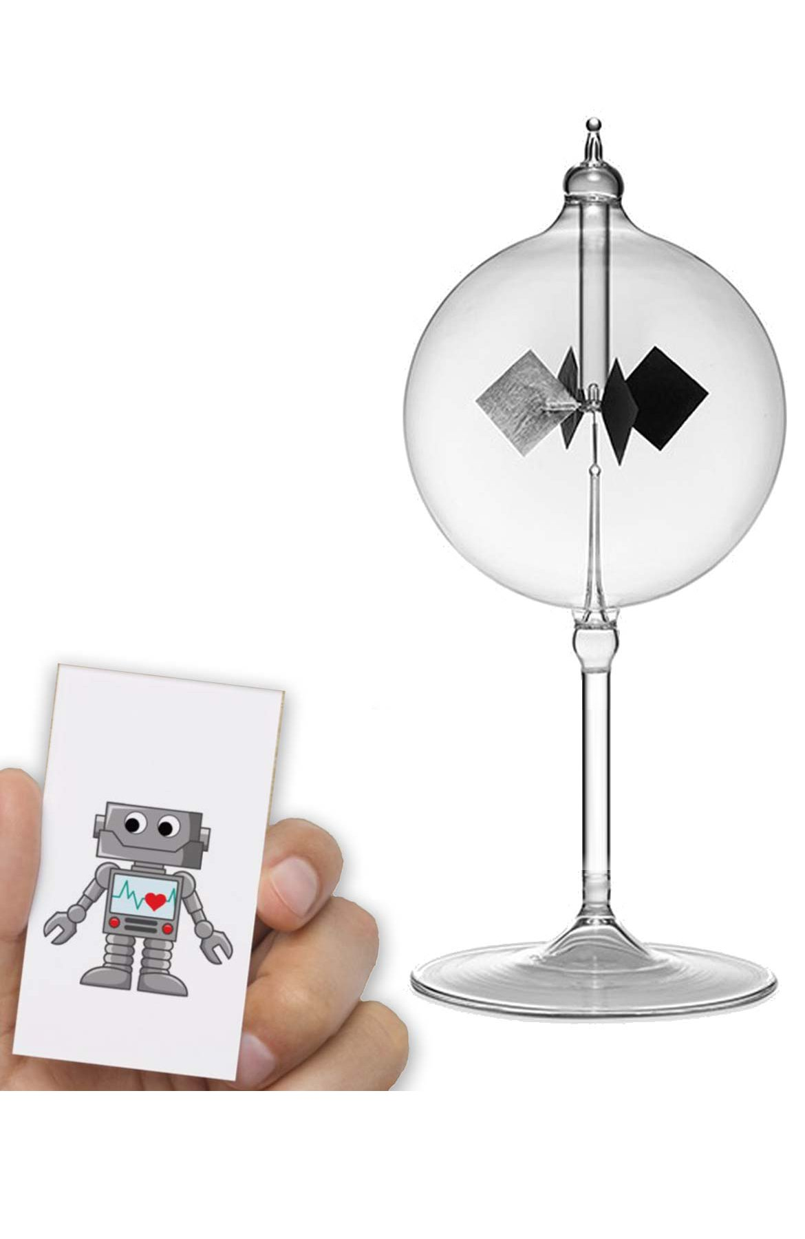 Radiometer Solar Spinning Diamond - Powered by The Sun (Free Robot Card Included)
