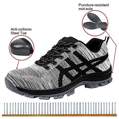 Industrial Toe Work Safety Sneakers Steel Footwear Men Athletic for Grey Shoes 04TnwxFq
