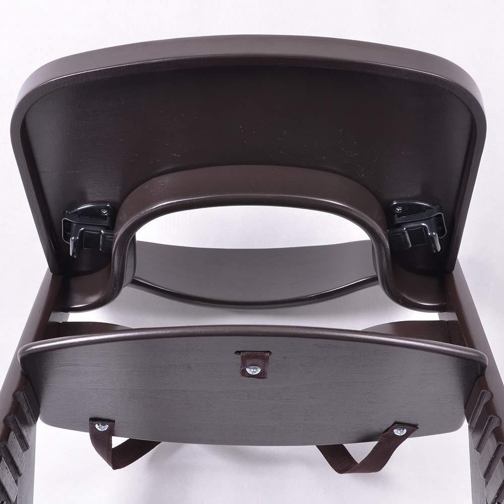 Chaise Haute en bois Ajustable Chaise b/éb/é Escalier chaise haute BRUN FONC/É HC6551-B