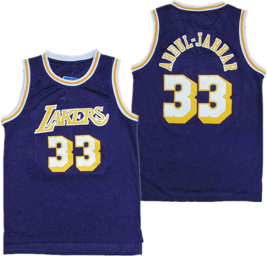 NBA Lakers #33 Kareem Abdul-Jabbar Chaqueta Deportiva Unisex Chaqueta Baloncesto Match Jersey Sudadera con Capucha Transpirable Secado r/ápido Chaleco Deportivo sin Mangas Top,Navy Blue,S