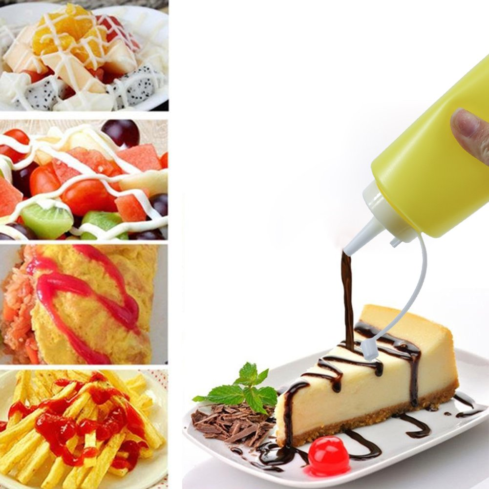 T-MEKA 250 ml Squeeze Sauce Bottle, Best Dispensers for Home & Restaurant Ketchup, Mustard, Mayo, Dressings, Olive Oil, BBQ Sauce, Salad (Random Color) by T-MEKA (Image #3)