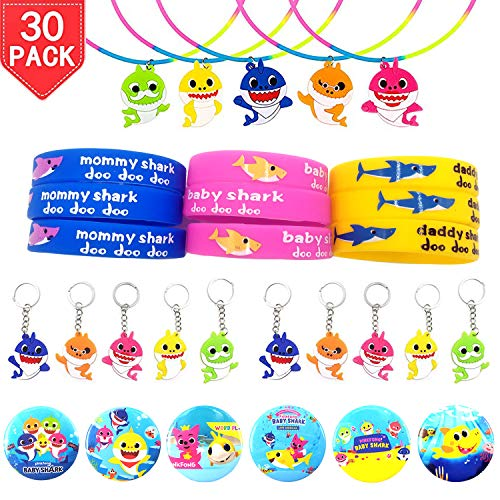 Time-killer Baby Shark Party Favors 30 Pack - Rubber Bracelets/Keychains/Necklace/Badge - Shark Themed Birthday Party Supplies for Kids Treat Bags Gift Fillers (Baby Shark-30) (Best Party Games Of All Time)