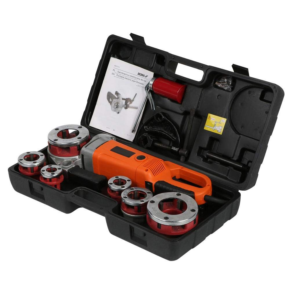 Akozon machine de filetage de fileuse /électrique portable tenue /à main avec 6 matrices Coffret de Fili/ère EU Stecker