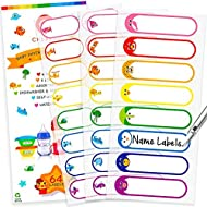 Baby Bottle Labels for Daycare, Waterproof Write-On Name Labels, Assorted Sizes & Colors, Pack of 64