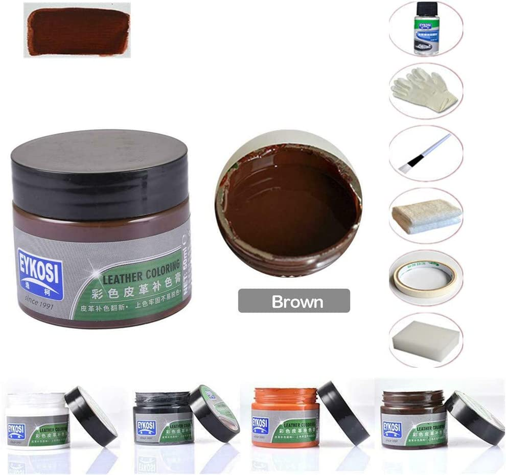 2 juegos de kit de reparación de automóviles y cuero, kit de reparación de limpiadores de cuero para Auto Asiento Sofá Abrigos Zapatos Botas Bolsos Agujeros Rasguños Grietas Rasgaduras (marrón)