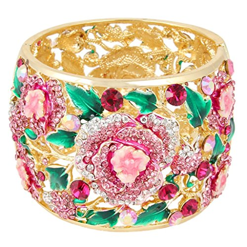 EVER FAITH Austrian Crystal Enamel Feast Rose Flower Leaf Bangle Bracelet Pink Gold-Tone (Austrian Bracelet Crystal Pink)