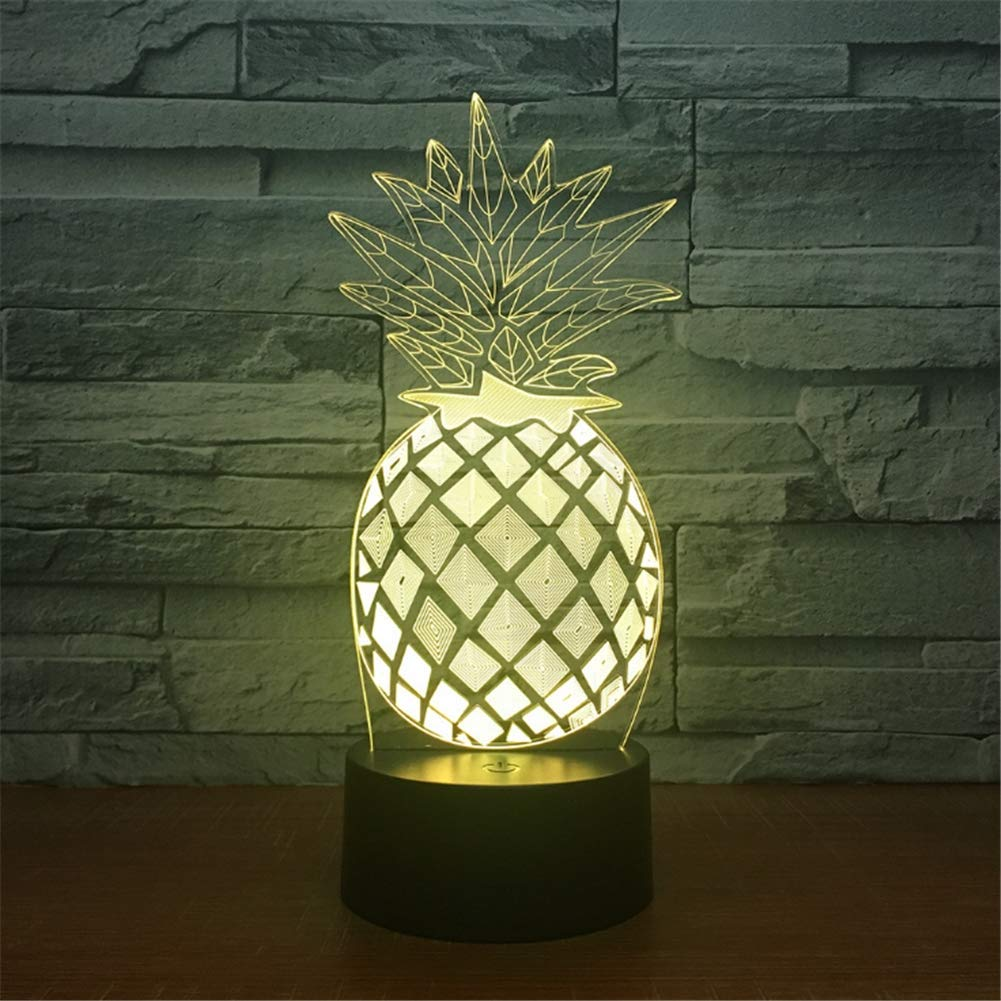 WBYD 3D Lamp LED Night Light Optical Illusion 7 Colour Changing USB Touch Button and Intelligent Remote Control Desk Table Lighting Nice Gift Home Office Decorations Toys(Pineapple)