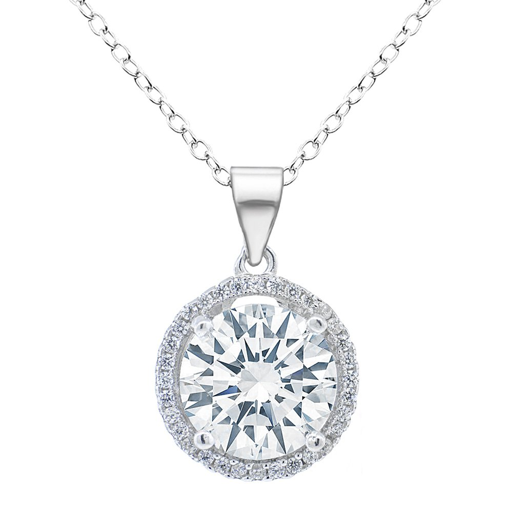 ROBERT MATTHEW Prime Amazon Day Ashley 18k White Gold Pendant Necklace - Gold Plated Halo Necklace w/Solitaire Round Cut Cubic Zirconia Diamond Cluster CZ Necklace, Wedding Jewelry - MSRP $95