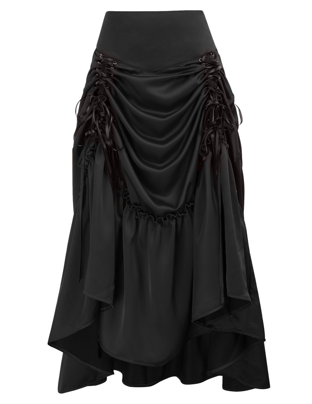 Black Steampunk Victorian Pirate Skirt Bustle Style (Medium, Black-617) by Belle Poque