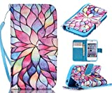 iPhone 4S Case, iPhone 4 Case, Welity Colorful Sun Flowers [ Wristlet ][ Kickstand ] PU Leather Clutch Pouch Wallet [Credit Card/Cash Slots] Flip Cover for iPhone 4/4S