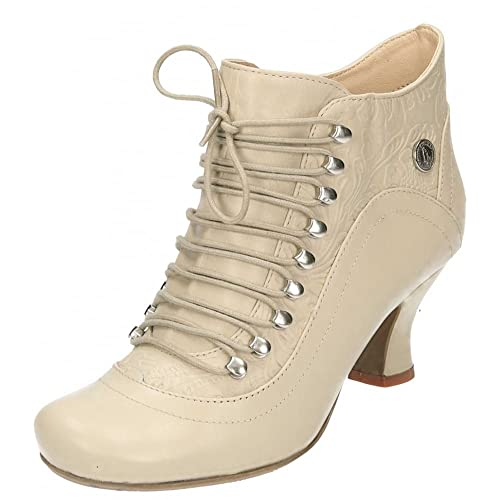 Hush Puppies Vivianna Leather Lace Up Mid Flared Heel Victorian Ankle Boots Shoe