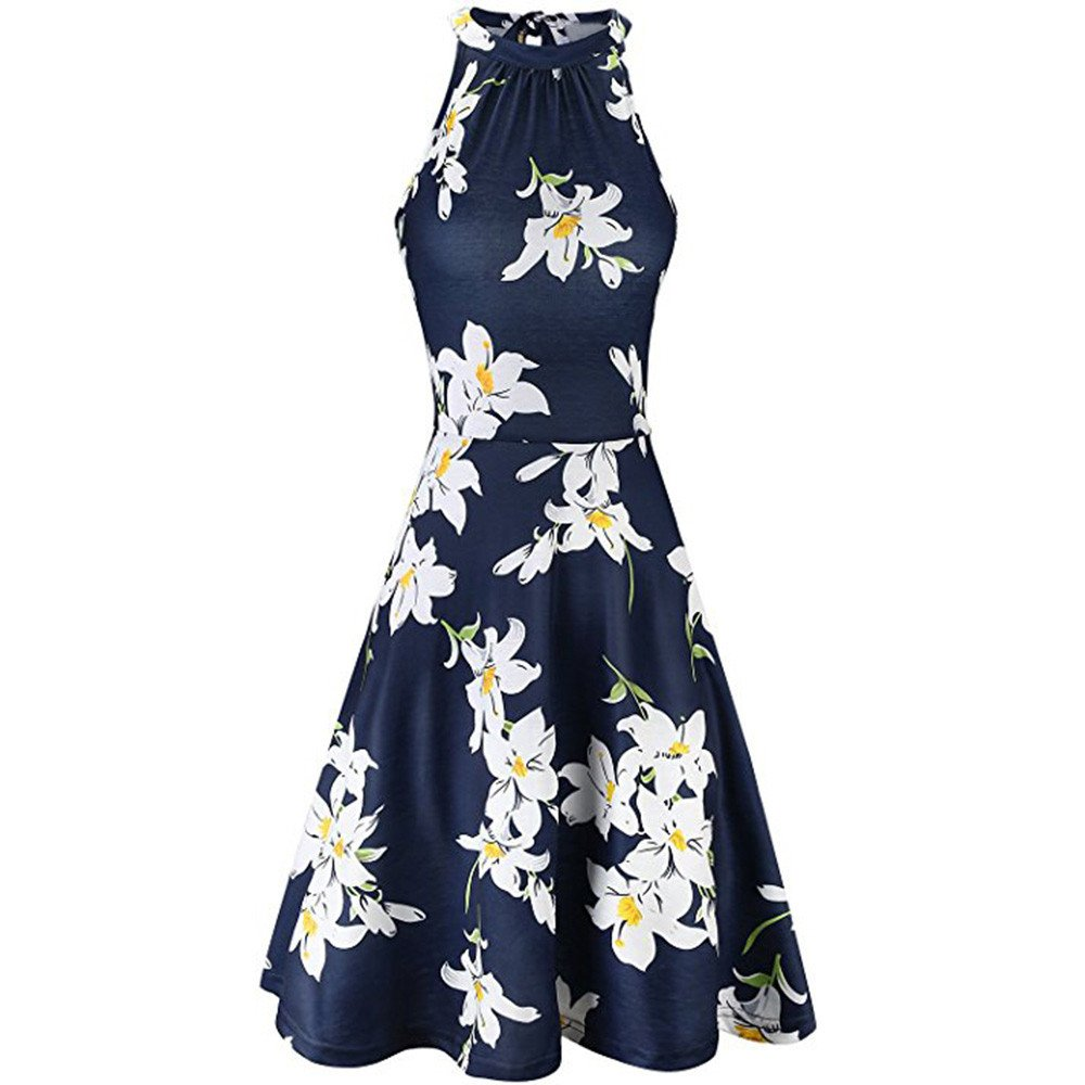 Xavigio_Women Dresses Womens Halter Neck Floral Print Sleeveless Mini Beach Dress Summer Flowy Casual Sundress