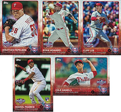 Philadelphia Phillies 2015 Topps Opening Day MLB Baseball Series Complete Mint 5 Card Set with Cliff Lee Ryan Howard Plus