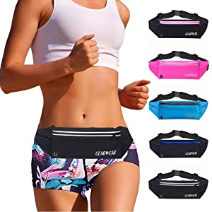 GEARWEAR Running Waist Fanny Pack Phone Holder for iPhone XR XS MAX 8 Plus Runner Pouch Bag Men Women for Workout Walking Fitness Exercise Gym Athletes Hiking